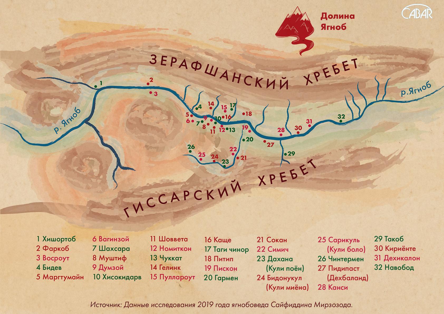 Карта сел долины Ягноб, в том числе заброшенных: Изготовлена по заказу CABAR.asia